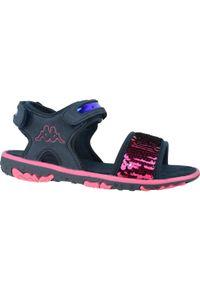 Niebieskie sandały Kappa sportowe, w kolorowe wzory