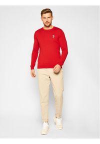 Czerwony sweter klasyczny Karl Lagerfeld z dekoltem karo