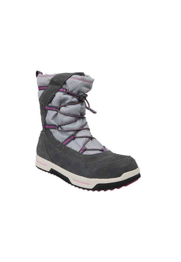 Szare buty trekkingowe Timberland na zimę, w kolorowe wzory, z cholewką