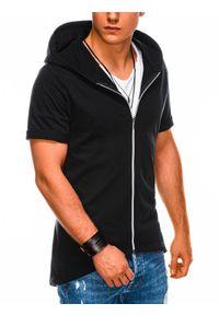 Ombre Clothing - Bluza męska rozpinana z krótkim rękawem B960 - czarna - XXL. Typ kołnierza: kaptur. Kolor: czarny. Materiał: poliester, dzianina, bawełna. Długość rękawa: krótki rękaw. Długość: krótkie. Wzór: gładki