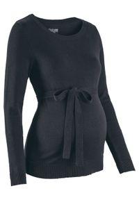 Sweter ciążowy z 100% bawełny, z wiązanym paskiem bonprix czarny. Kolekcja: moda ciążowa. Kolor: czarny. Materiał: bawełna