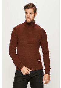 Brązowy sweter PRODUKT by Jack & Jones z golfem, długi, na co dzień