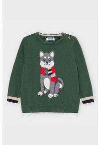 Zielony sweter Mayoral na co dzień, casualowy