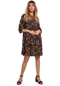 e-margeritka - Sukienka odcinana w pasie trapezowa - l. Materiał: wiskoza, materiał. Typ sukienki: trapezowe
