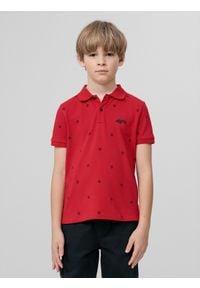 4f - Koszulka polo regular chłopięca. Typ kołnierza: polo. Kolor: czerwony. Materiał: materiał