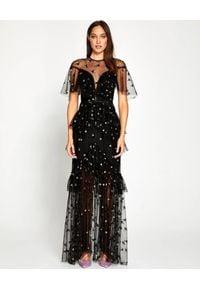 ALICE MCCALL - Czarna sukienka Moon Lover. Kolor: czarny. Materiał: satyna, materiał. Wzór: aplikacja. Styl: elegancki, klasyczny. Długość: maxi