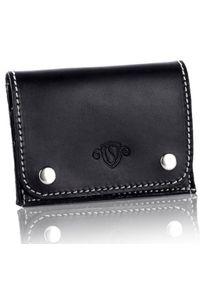 Skórzany cienki portfel wizytownik Solier SW18 czarny vintage. Kolor: czarny. Materiał: skóra