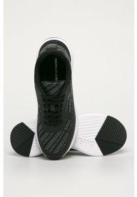 Czarne sneakersy Calvin Klein Jeans na sznurówki, z okrągłym noskiem, z cholewką