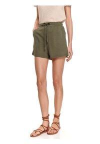 DRYWASH - Dresowe szorty damskie z wiązaniem. Kolor: brązowy. Materiał: dresówka. Sezon: lato. Styl: wakacyjny