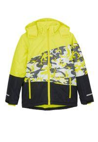 Kurtka chłopięca narciarska nieprzemakalna i wiatroszczelna bonprix żółty neonowy -czarny moro. Kolor: żółty. Materiał: poliester, materiał. Wzór: moro. Sezon: zima