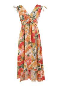 Born2be - Zielona Sukienka Calathea. Kolor: zielony. Materiał: tkanina. Długość rękawa: na ramiączkach. Wzór: kwiaty, aplikacja, kolorowy. Typ sukienki: asymetryczne. Długość: midi