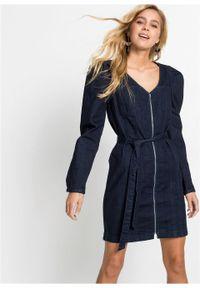 Sukienka dżinsowa z poliestru z recyklingu bonprix ciemny denim. Kolor: niebieski. Materiał: denim, poliester