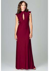 Czerwona sukienka na wesele Katrus z falbankami, maxi