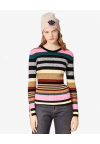 Kenzo - KENZO - Sweter w paski. Kolor: szary. Materiał: jeans, materiał. Długość rękawa: długi rękaw. Długość: długie. Wzór: paski
