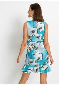 Sukienka ołówkowa z falbaną bonprix niebiesko-biały w kwiaty. Kolor: niebieski. Wzór: kwiaty. Typ sukienki: ołówkowe #2