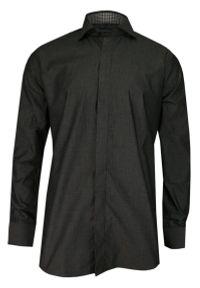 Chiao - Grafitowa Elegancka Koszula Męska z Długim Rękawem, 100% Bawełna -CHIAO- Taliowana, z Plisą KSDWCHIAOM4A03C. Okazja: do pracy, na spotkanie biznesowe. Kolor: szary. Materiał: bawełna. Długość rękawa: długi rękaw. Długość: długie. Wzór: aplikacja. Styl: elegancki