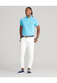 Ralph Lauren - RALPH LAUREN - Niebieska koszulka polo Mesh Custom Fit. Typ kołnierza: polo. Kolor: niebieski. Materiał: mesh. Długość: długie. Wzór: haft