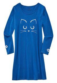 Koszula nocna bonprix niebieski polarny z nadrukiem