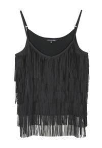 TOP SECRET - Bluzka z frędzlami na ramiączkach. Okazja: na imprezę. Kolor: czarny. Długość rękawa: na ramiączkach. Styl: elegancki #7