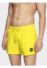 4f - Spodenki plażowe męskie. Okazja: na plażę. Kolor: żółty. Materiał: tkanina. Sezon: lato