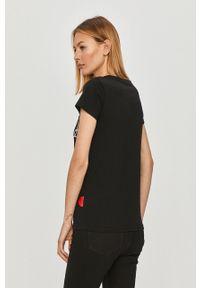 Czarna bluzka Prosto. z nadrukiem, casualowa, na co dzień