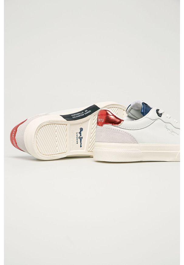 Białe buty sportowe Pepe Jeans na sznurówki, z cholewką