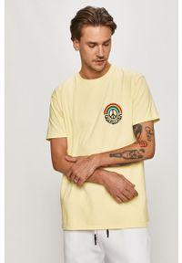 Żółty t-shirt Quiksilver casualowy, na co dzień, z nadrukiem
