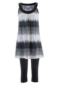 Sukienka + legginsy rybaczki (2 części) bonprix czarny w graficzny wzór. Kolor: czarny