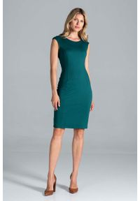 Figl - Klasyczna Dopasowana Sukienka bez Rękawów - Zielona. Kolor: zielony. Materiał: poliester, wiskoza, elastan. Długość rękawa: bez rękawów. Styl: klasyczny