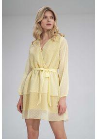 Figl - Zwiewna Sukienka Szyfonowa z Kopertowym Dekoltem - Żółta. Kolor: żółty. Materiał: szyfon. Typ sukienki: kopertowe