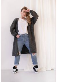 Lemoniade - Elegancki minimalistyczny sweter kardigan grafitowy. Kolor: szary. Styl: elegancki