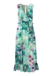 Zielona sukienka Happy Holly elegancka, bez rękawów, z dekoltem w serek