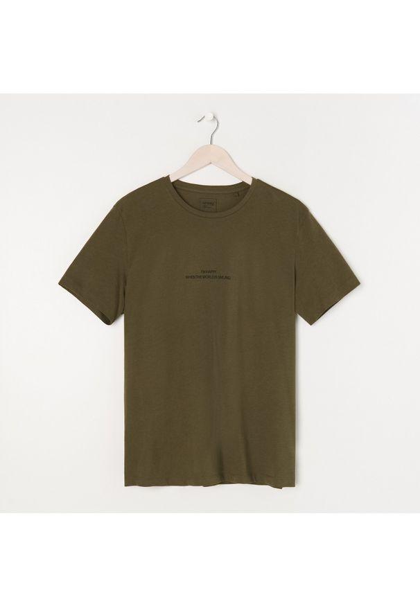 Sinsay - Koszulka z nadrukiem - Zielony. Kolor: zielony. Wzór: nadruk