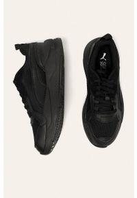 Czarne sneakersy Puma z cholewką, z okrągłym noskiem, na sznurówki