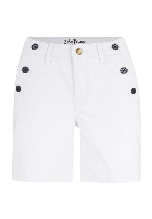 Szorty dżinsowe ze stretchem bonprix biały. Kolor: biały