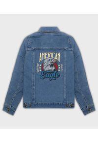 MegaKoszulki - Kurtka jeansowa damska Amerykański orzeł. Materiał: jeans. Wzór: nadruk. Sezon: wiosna. Styl: klasyczny