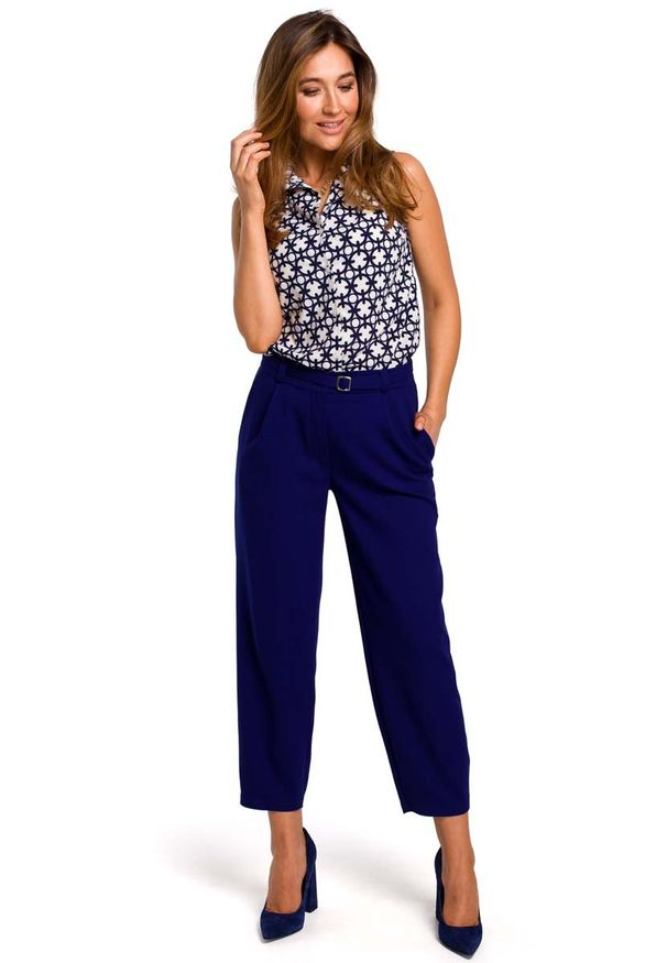 MOE - Wzorzysta Koszulowa Bluzka bez Rękawów - Model 1. Materiał: elastan, poliester. Długość rękawa: bez rękawów