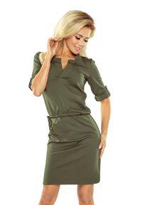 Numoco - Sportowa sukienka z kwadratowym kołnierzykiem. Materiał: poliester, materiał, elastan. Długość rękawa: krótki rękaw. Typ sukienki: sportowe. Styl: sportowy