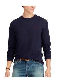 Ralph Lauren - RALPH LAUREN - Granatowa koszulka Slim Fit. Typ kołnierza: polo. Kolor: niebieski. Materiał: bawełna, materiał. Długość rękawa: długi rękaw. Długość: długie. Wzór: haft. Styl: klasyczny