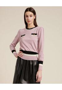 Luisa Spagnoli - LUISA SPAGNOLI - Jasnoróżowy sweter z wełny MILO. Kolor: różowy, wielokolorowy, fioletowy. Materiał: wełna