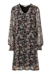 Czarna sukienka mini Cream w kwiaty, elegancka, z dekoltem w serek