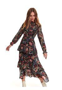TOP SECRET - Printowana sukienka z falbanką i bufiastymi rękawami. Typ kołnierza: kołnierzyk stójkowy. Kolor: czarny. Sezon: zima