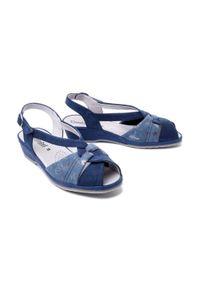 Comfortabel - COMFORTABEL 710033-05 blau, sandały damskie. Kolor: niebieski. Materiał: skóra. Obcas: na koturnie