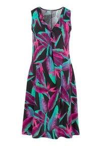 Cellbes Rozkloszowana sukienka z dżerseju z kwiatowym wzorem Czarny we wzory female czarny/ze wzorem 34/36. Kolor: czarny. Materiał: jersey. Wzór: kwiaty