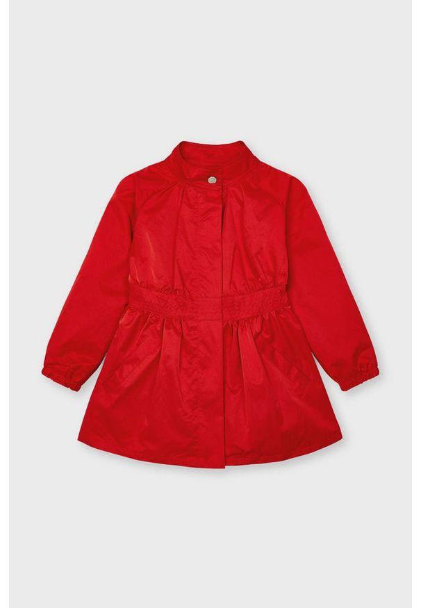 Czerwony płaszcz Mayoral gładki, casualowy, na co dzień