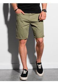 Ombre Clothing - Krótkie spodenki męskie casual W303 - khaki - XXL. Okazja: na co dzień. Kolor: brązowy. Materiał: elastan, tkanina, bawełna. Długość: krótkie. Sezon: lato. Styl: casual