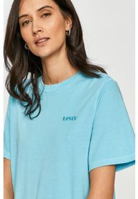 Levi's® - Levi's - Sukienka. Okazja: na co dzień, na spotkanie biznesowe. Kolor: niebieski. Materiał: dzianina. Długość rękawa: krótki rękaw. Wzór: gładki. Typ sukienki: proste. Styl: biznesowy, casual