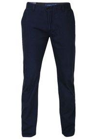 Chiao - Granatowe Bawełniane Spodnie Męskie, CHINOSY, Kolorowe Wykończenia -CHIAO. Kolor: niebieski. Materiał: bawełna. Wzór: kolorowy