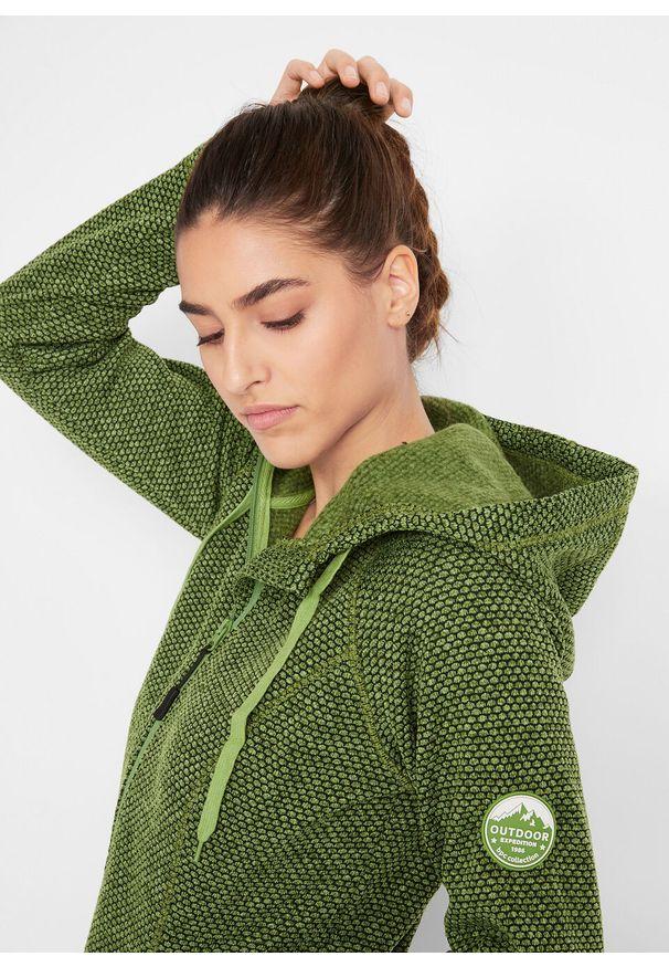 Zielona bluza bonprix w kolorowe wzory, z długim rękawem, z kontrastowym kołnierzykiem, długa