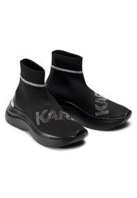 Czarne półbuty Karl Lagerfeld z cholewką, z aplikacjami